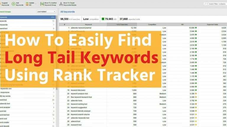 how to easily find long tail keywords using rank tracker